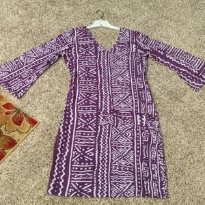 Tribal print v-neck dress with bell sleeves